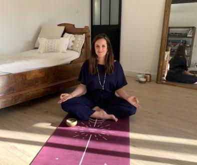 Tapis de Yoga Écologique performance Yogom : modèle Bodyline Solaire prune