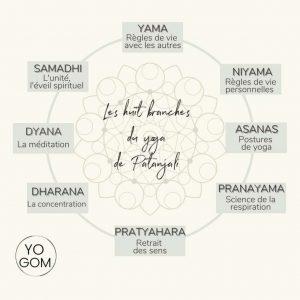 les huit branches du raja yoga huit membres du yoga Patanjali