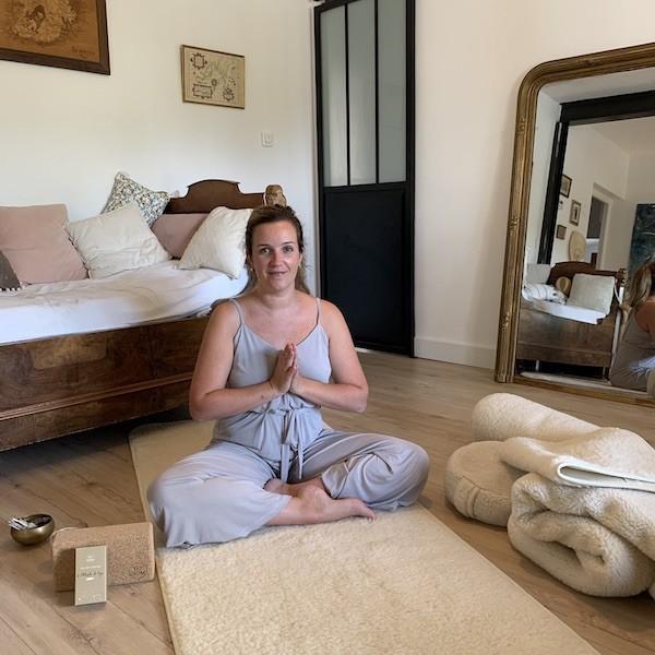 couverture de yoga et tapis de yoga en laine de mérinos
