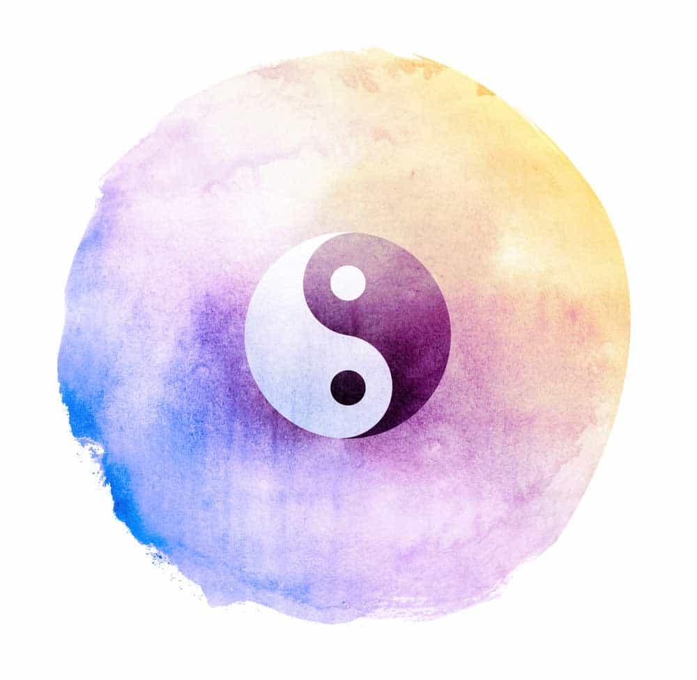 Peinture aquarelle du Tao avec l'image du Yin et du yang